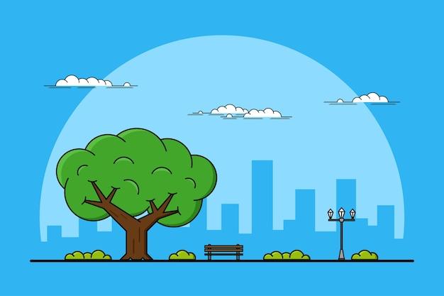 Immagine di un grande albero, una panchina e un lampione, un concetto di parchi e attività all'aperto, illustrazione al tratto sottile