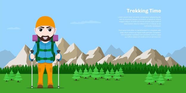 Foto di fumetto escursionismo turista uomo con grande zaino e bastoncini da trekking con foreste e montagne