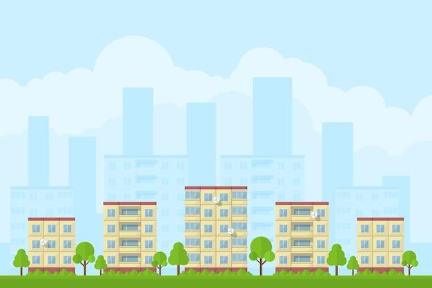 Immagine del paesaggio della città con case a pannelli, concetto di stile per la promozione e la pubblicità del prodotto