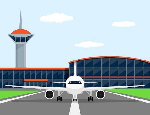 Immagine di un aereo civile sulla pista di atterraggio, di fronte all'aeroporto, illustrazione di stile