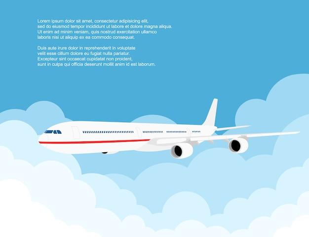 Immagine di un aereo civile con nuvole, illustrazione di stile
