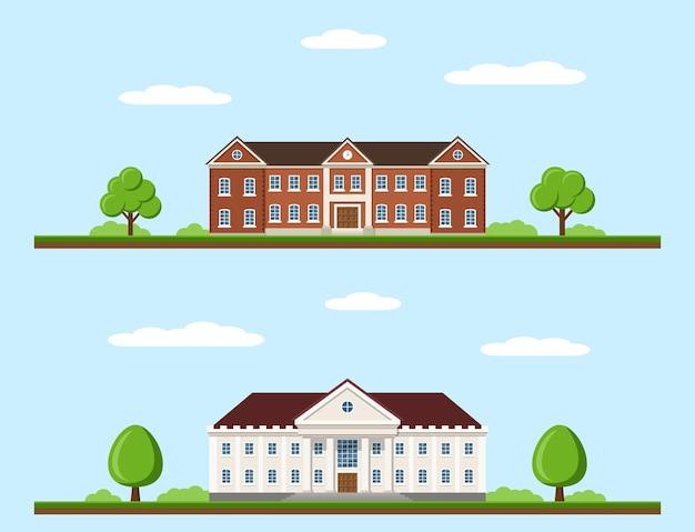 Foto di edifici universitari e universitari, concetto di istruzione, stile piatto
