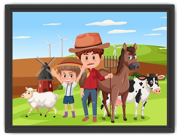 Una foto di papà e figlia nella scena della fattoria