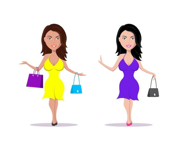 Foto di giovane donna elegante con borsetta e shopping bag vestita con un bel vestito