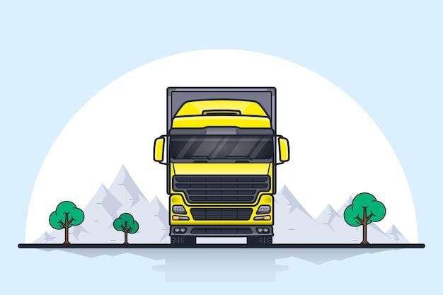 Foto di rimorchio per camion carico europeo, vista frontale. illustrazione di arte linea stile piatto. concetto di trasporto merci.