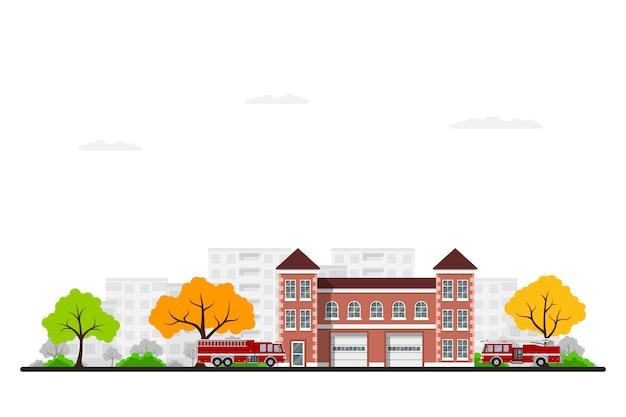 Immagine della stazione dei vigili del fuoco con camion dei pompieri, alberi e sillhouette città sullo sfondo. .