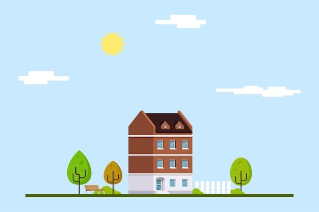 Immagine della costruzione di casa in stile piatto.