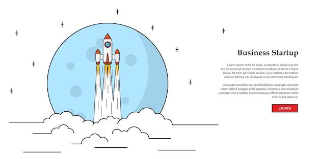 Foto di razzo volante, concetto di banner di avvio aziendale,