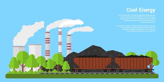 Foto di carrozze merci piene di carbone con colline di carbone e centrale elettrica a carbone sullo sfondo, banner di stile, industria del carbone, concetto di energia del carbone