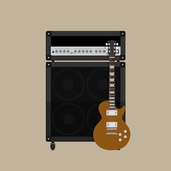 Foto di amplificatore per chitarra con altoparlante e chitarra, illustrazione di stile