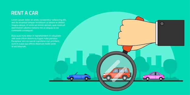 Immagine di una mano umana che tiene la lente d'ingrandimento e il numero di automobili, selezione di auto, noleggio, acquisto di un banner di concetto di auto,