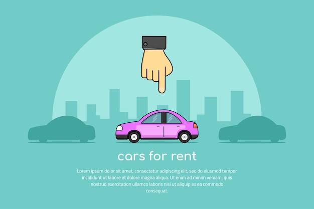 Immagine di una mano umana che punta a un'auto, selezione di auto, banner di concetto di noleggio auto,