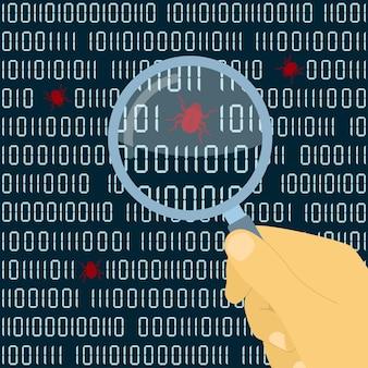 Immagine della mano umana con lente di ingrandimento davanti al codice digitale con bug, concetto di test del software
