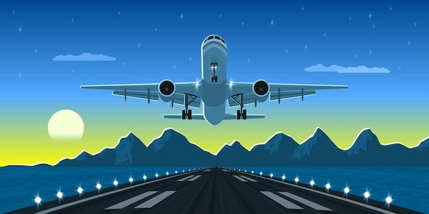 Immagine di un atterraggio o di un decollo aereo con montagne e silhouette di grande città sullo sfondo, illustrazione di stile