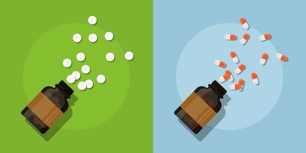 Foto di pillole e bottiglie di medicina, illustrazione di stile