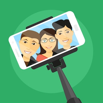 Immagine del telefono cellulare con tre amici sullo schermo e selfie stick, illustrazione di stile
