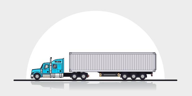 Foto del rimorchio del camion carico americano moderno, vista laterale. illustrazione di arte linea stile piatto. concetto di trasporto merci.