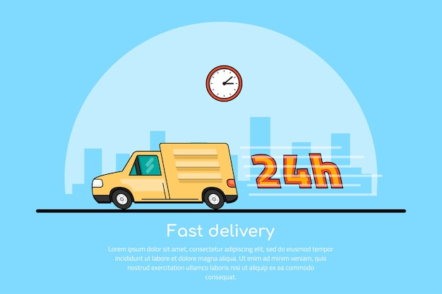 Immagine di un'auto in movimento con l'icona dell'orologio e la grande città sillhouette sullo sfondo, concetto di servizio di consegna,