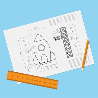 Immagine del foglio di carta con progetto di razzo, matita e ruller, start-up, nuovo servizio, concetto di business o di prodotto