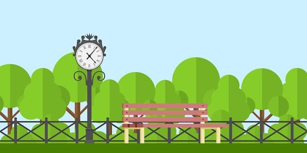 Immagine di una panchina nel parco e un orologio del parco con recinzione e alberi sullo sfondo, illustrazione di stile