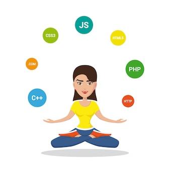 Immagine di una ragazza programmatrice sm, joggling con linguaggi di programmazione e tecnologie, personaggio dei cartoni animati su sfondo bianco