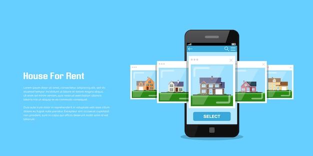 Immagine di uno smartphone con icone di casa, casa in affitto, concetto di selezione di casa, illustrazione di stile piano