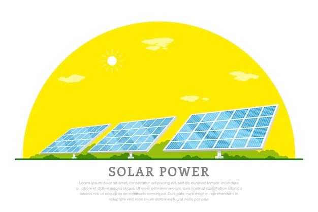 Foto di batterie solari, bandiera di concetto di energia solare rinnovabile