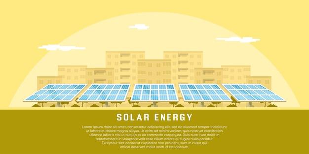 Foto di batterie solari con silhouette della città sullo sfondo, il concetto di energia solare rinnovabile