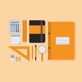 Immagine di accessori di studio: righelli, penna, matita, calcolatrice, adesivi, quaderni ecc., illustrazione di stile