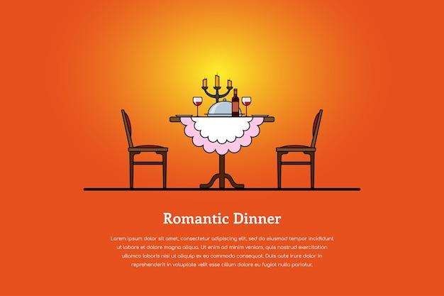 Immagine di un tavolo con bicchieri di vino, candele, piatto con cibo e due sedie. concetto di cena romantica.