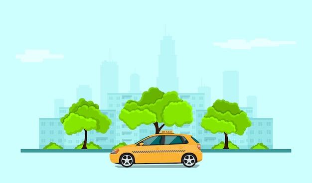 Foto di taxi auto davanti alla silhouette della città, banner di concetto di servizio taxi, illustrazione di stile