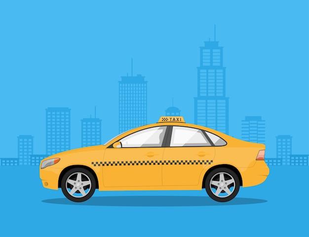 Immagine di una macchina taxi con silhouette di grande città sullo sfondo, illustrazione di stile