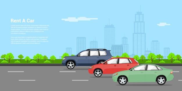 Foto di tre vetture sul ruggito con sillhouette grande città sullo sfondo, illustrazione di stile, noleggiare un concetto di auto