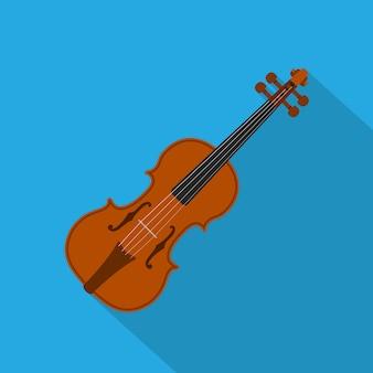 Foto di un violino su sfondo blu, illustrazione di stile
