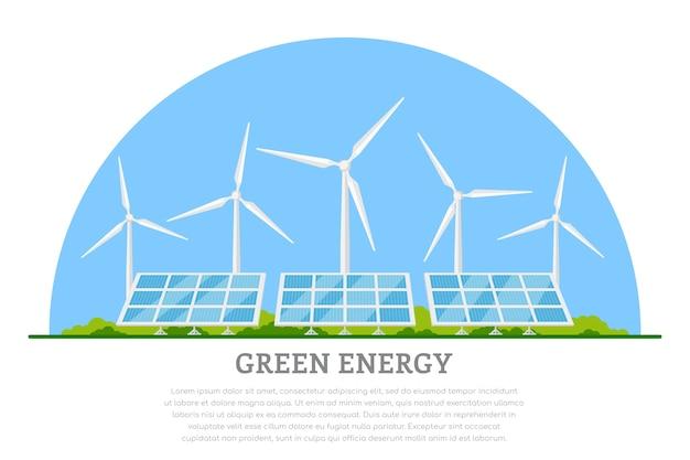 Immagine di turbine eoliche e pannelli solari, bandiera di concetto di energia solare e eolica rinnovabile