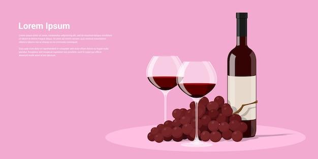 Foto di bottiglia di vino, due bicchieri di vino e uva, illustrazione di stile