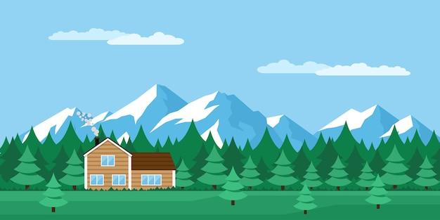 Immagine della casa in legno nella foresta, con le montagne sullo sfondo, illustrazione di stile