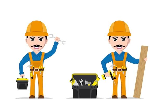 Immagine di un uomo operaio con strumenti e cassetta degli attrezzi su sfondo bianco Vettore Premium