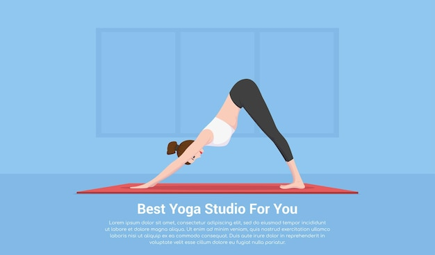 Foto di giovane donna adatta facendo pratica yoga, fitness e concetto di sport, concetto di studio di yoga