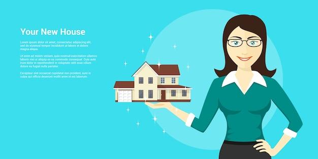 Immagine della giovane donna che tiene la nuova casa sul palmo della mano, pubblicità della casa, illustrazione di stile
