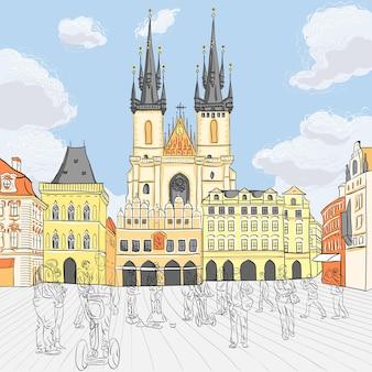 Vista pittoresca sulla piazza della città vecchia di praga, repubblica ceca