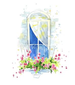 Pittoresco balcone ad acquerello con dettagli di architettura di rose