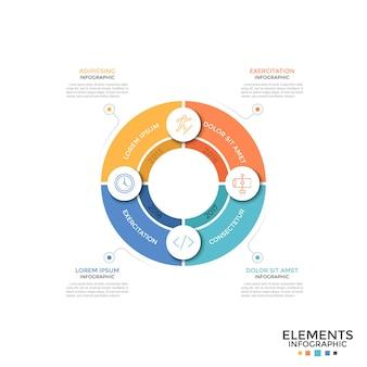 Grafico a torta diviso in 4 settori colorati uguali con simboli lineari e indicazione dell'anno. concetto di ciclo di sviluppo annuale. modello di progettazione infografica semplice. illustrazione di vettore per il rapporto.
