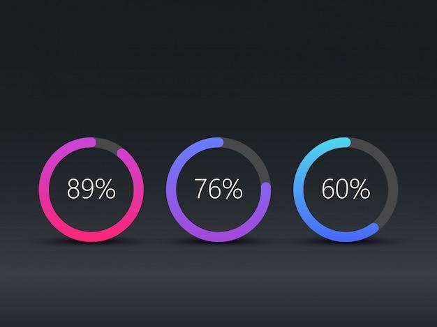 Modello di infografica grafici a torta