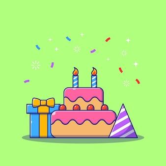 Pezzo di torta di compleanno del fumetto piatto illustrazione.