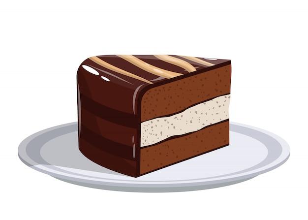 Pezzo di dolce sull'illustrazione di progettazione del piatto isolato su fondo bianco