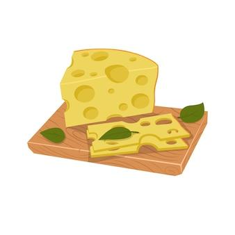 Pezzo di formaggio e pezzi a fette sulla tavola