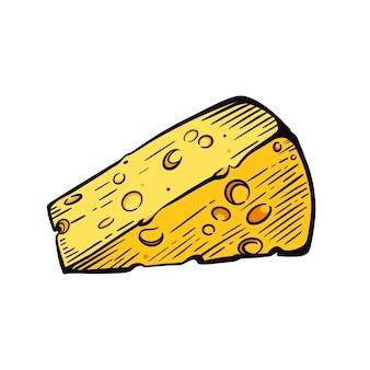 Un pezzo di formaggio su uno schizzo di sfondo bianco. latticini. illustrazione vettoriale disegnata a mano