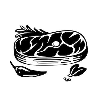 Pezzo di delizioso schizzo di illustrazione vettoriale di bistecca di carne alla griglia