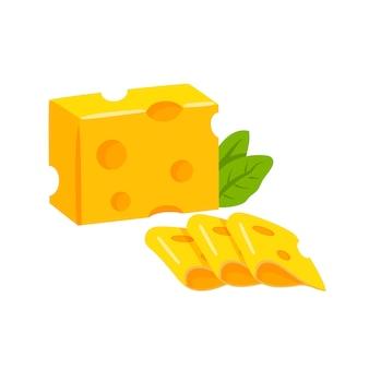 Pezzo di formaggio a fette icone realistiche piatte moderne dell'illustrazione di vettore isolate su fondo bianco